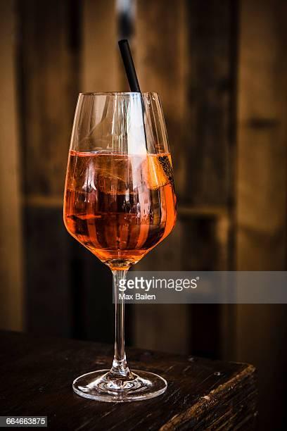Glass of Aperol spritz drink