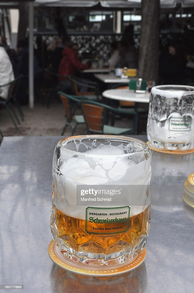 A glass of beer during the opening of Schweizerhaus Wien on March 15, 2013 in Vienna, Austria.