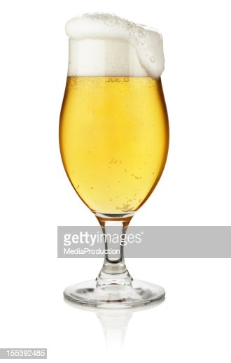 Glass of beer isolated on white with clipping path