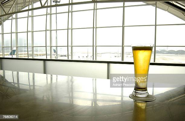 Glass of beer on bar