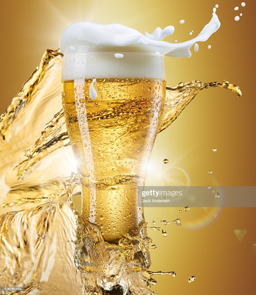 Glass of Beer with Splash