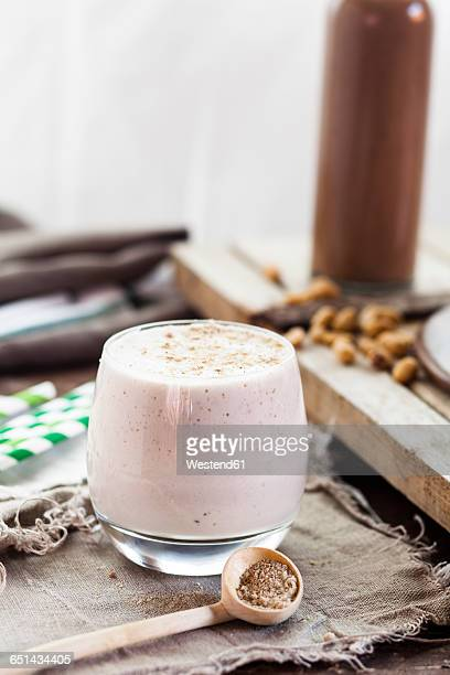 Glass of cheesecake smoothie with tigernut powder