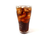 A glass of cola with ice cubes isolated on white background