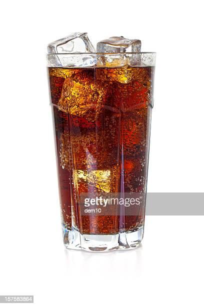 ガラスのコーラに氷