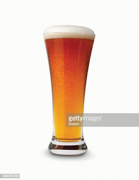 Glass of dark amber beer