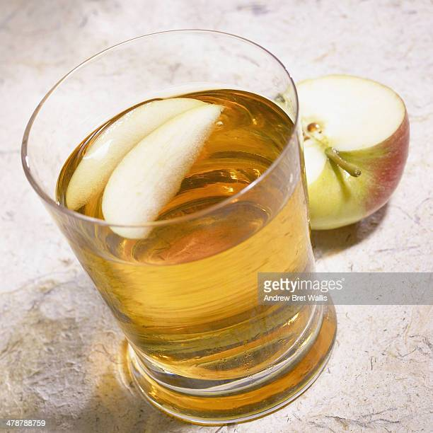 A glass of freshly made apple juice