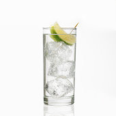 Gin and Tonic or Soda Isolated on White Background
