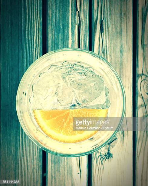 Glass Of Gin And Tonic With Slice Of Lemon