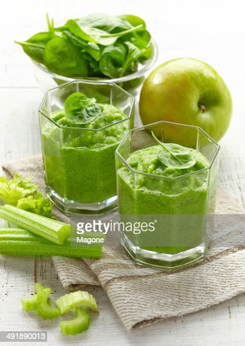 glass of green smoothie : Stock Photo