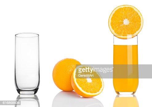 Glass of healthy organic orange juice on white : Stock Photo