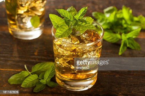 A glass of homemade gourmet mint julep : Stock Photo
