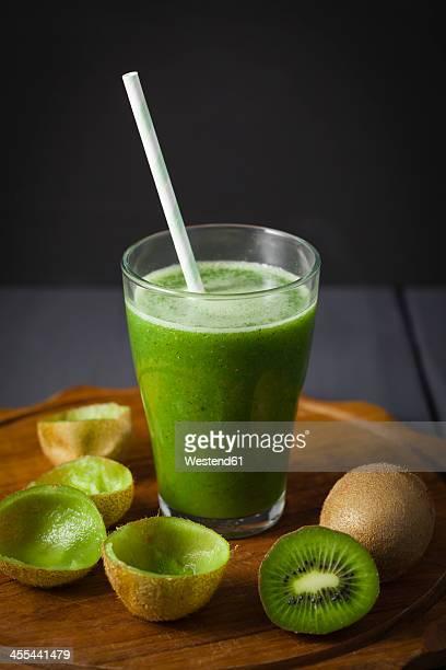 Glass of kiwi smoothie, close up