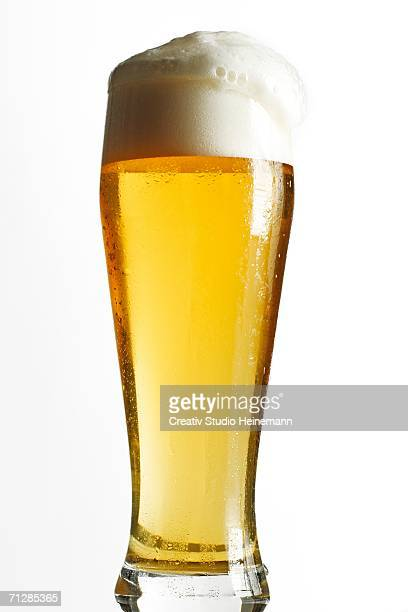 Glass of lager, German Weissbier, close-up