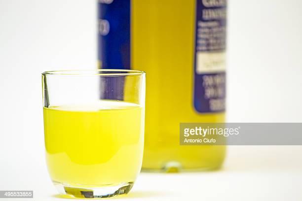 Glass of limoncello