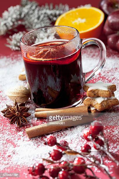 Glass of mulled wine with slice of orange