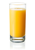 Full glass of orange juice on white background. With clipping path