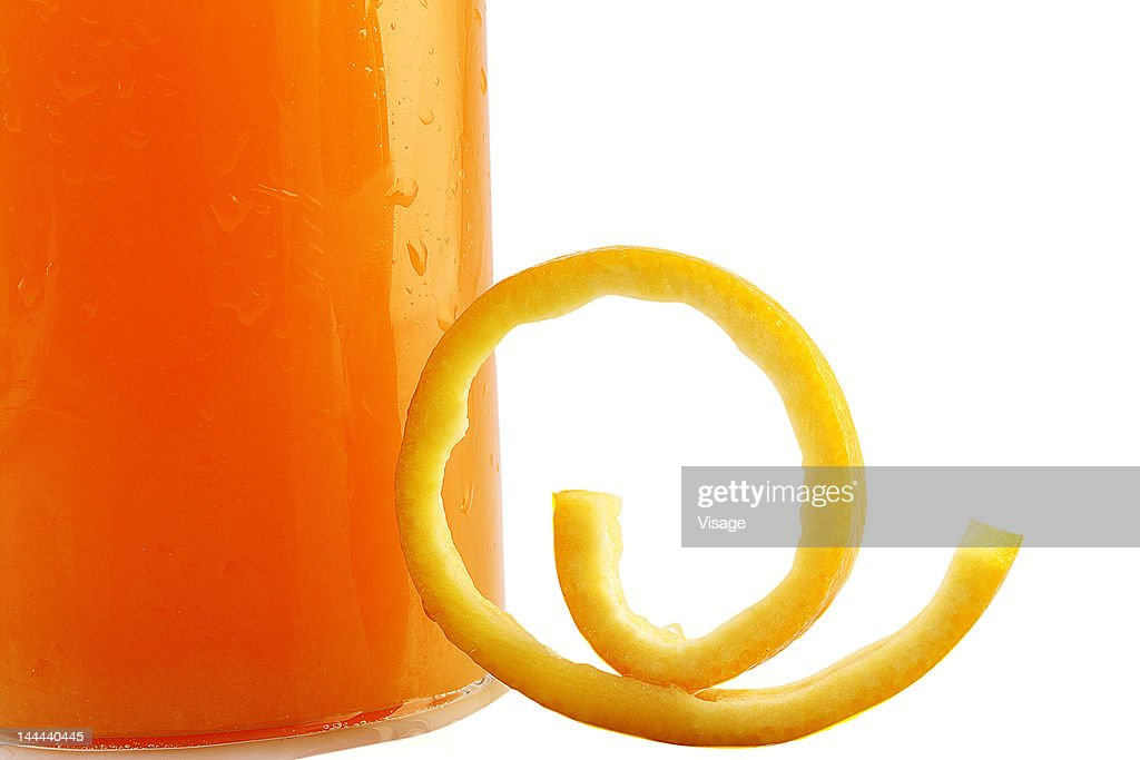 A glass of orange juice, partial view : Stock Photo