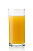 Glass of orange juice isolated on white -clipping path