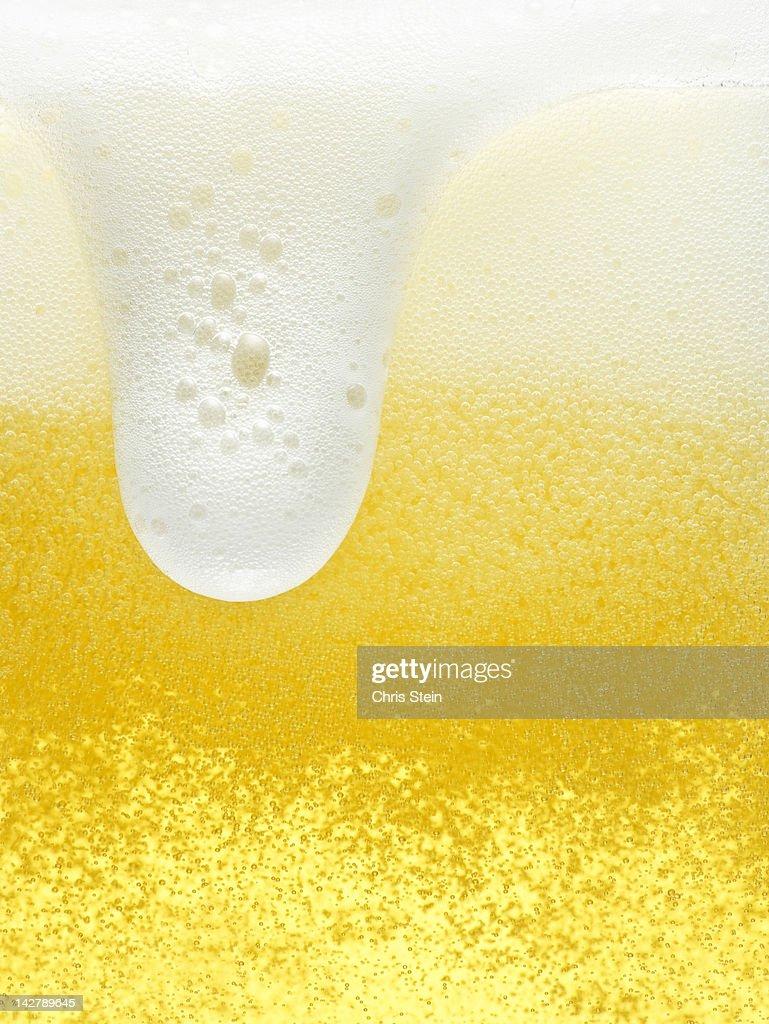 Glass of overflowing beer foam : Stock Photo