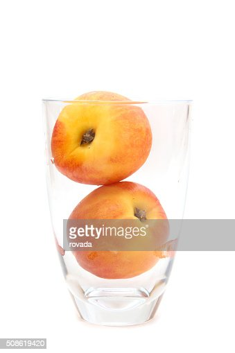 glass of  peach isolated on white background : Stock Photo