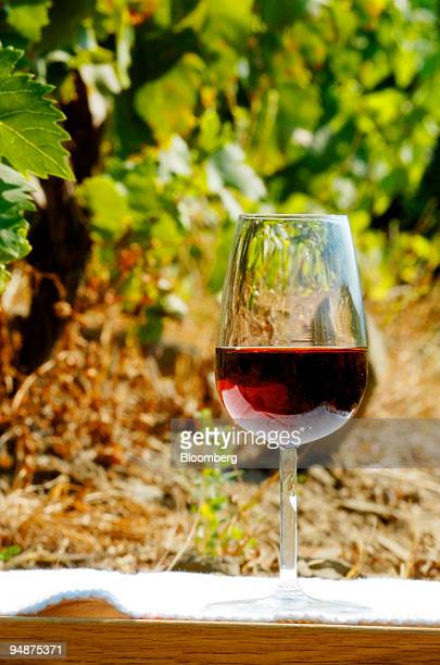 A glass of Port sits amongst grapevines in the Douro valley near Peso da Rgua Portugal on Thursday July 17 2008 Three centuries after the sweet wine...