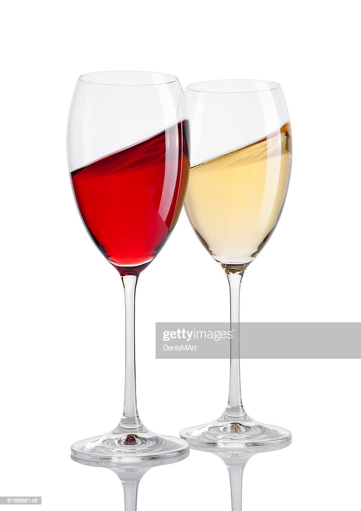 Glass of red and white wine in motion on white : Stock Photo