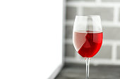 A glass of red wine. Copy space. Concept restaurant, alcohol, party.