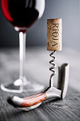 Glass of red wine, corkscrew and wine cork with the word Rioja