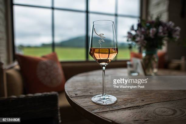 A glass of rose at Early Mountain Vineyards in Madison VA on September 8 2014