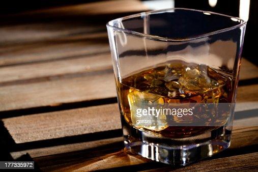 Glass of scotch whiskey : Stock Photo