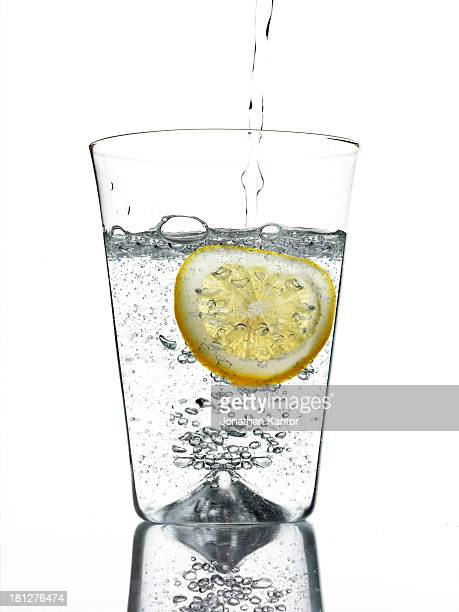 Glass of Seltzer Water with Lemon