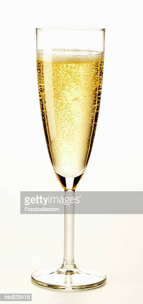 A glass of sparkling champagne