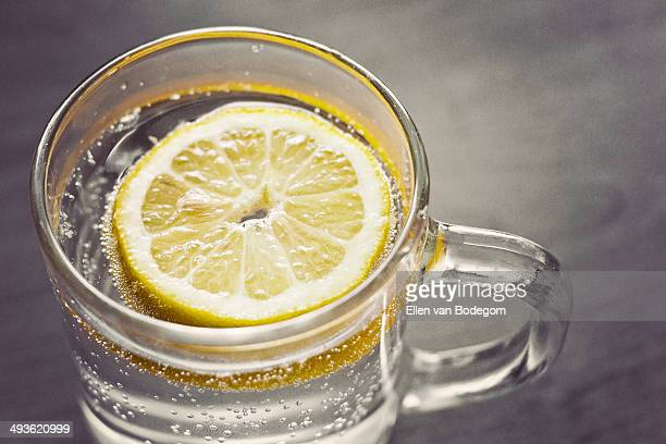 Glass of sparkling water with slice of lemon
