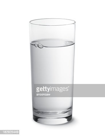 Glass of water photographed against a white background