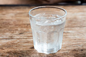 A Glass of water on wooden table