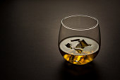glass of whiskey on a dark background