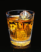 Glass of whisky with ice, (Close-up)