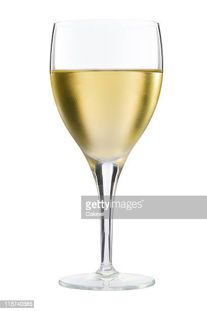 Glass of white wine on white background
