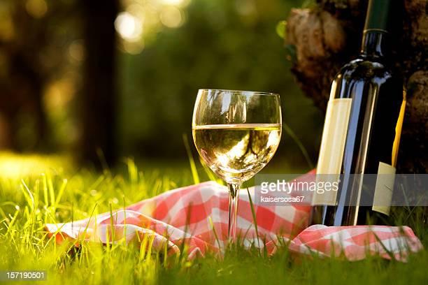 Copo de Vinho Branco com frasco