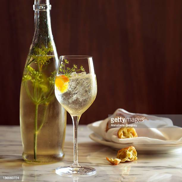 Glass of White WIne with Valencia Flowers