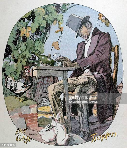 A Glass Of Wine By Ferdinand Gotz 18741936 German Food And Drink Liszt Gourmet Archive Glass Bottle Wine Alcohol Garpes Vines Garden Outdoors Table...