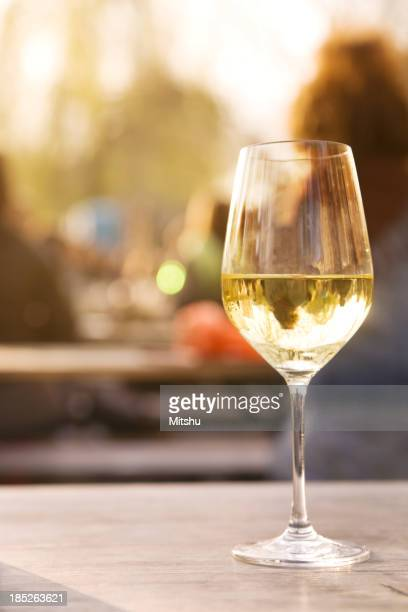 Glass of wine in a sidewalk cafe
