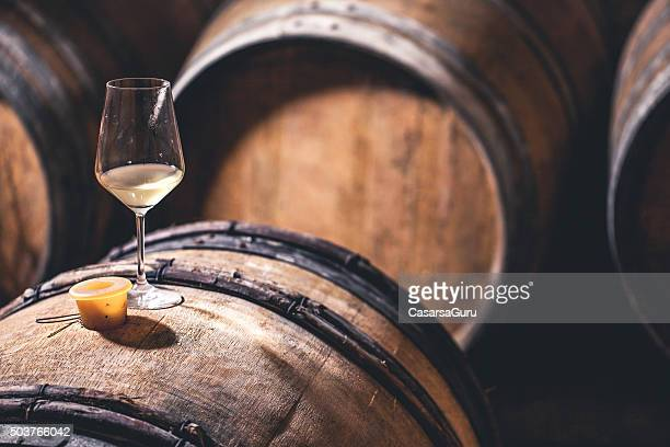 Glass of Wine on a Barrel