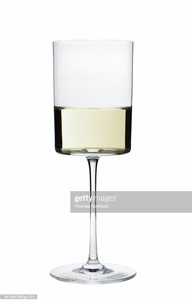 Glass of wine on white background : Stock Photo