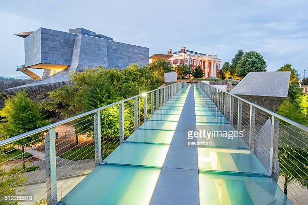 Hunter Museum from glass pedestrian bridge at dusk on August 10th 2014 in Chattanooga.
