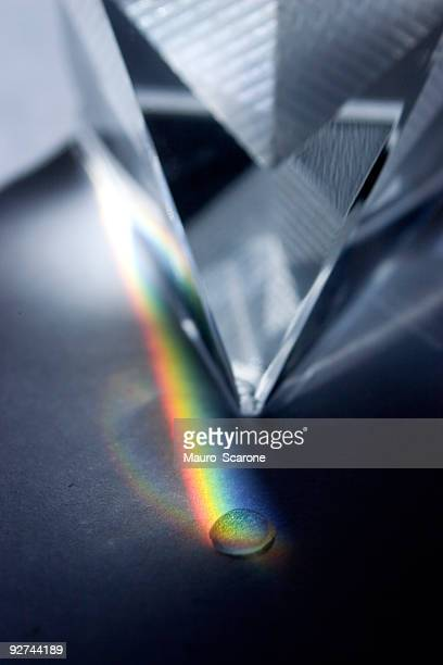 Glass pyramid separating colors.