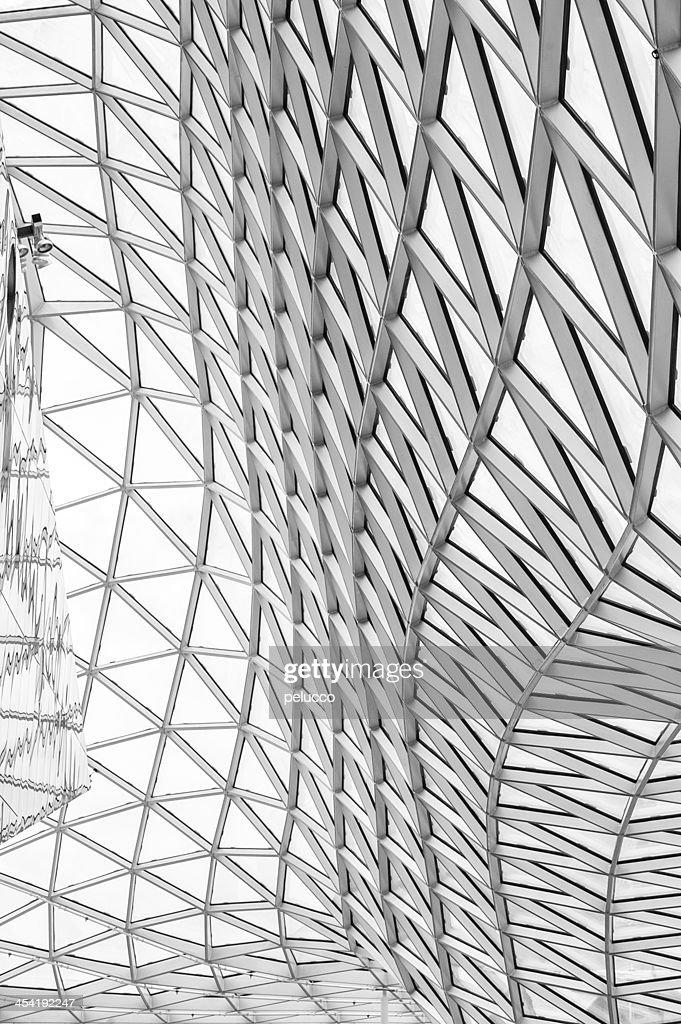 Telhado de Vidro, construção e de reflexos : Foto de stock
