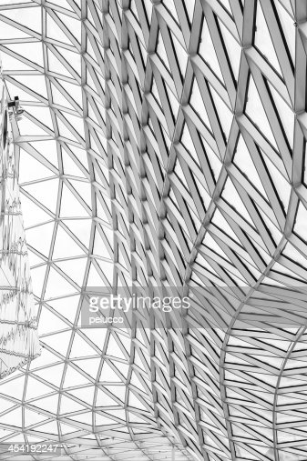 Glass roof construction and reflections : Stock Photo
