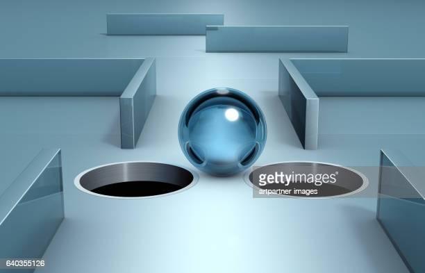 glass sphere at an narrow spot