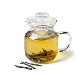 Glass teapot with Chinese Kuding needle tea isolated on white background